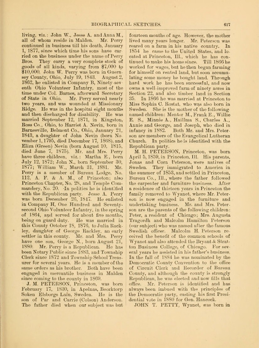 Illinois bureau county princeton -  1859 In Princeton Bureau County Illinois To Jonas And Caring Petersdotter Peterson Jonas Cora And Son Peter Born 1850 Immigrated To The United